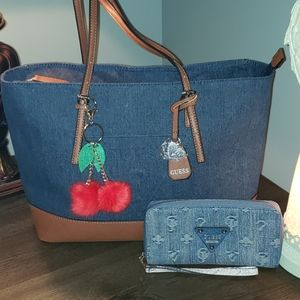 New Guess Oversize Denim Saffiano Leather Tote